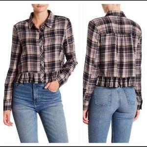 Abound Nordstrom Plaid Ruffle Edge Flannel Shirt